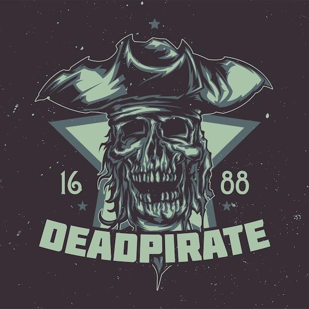 Camiseta ou pôster com o chapéu ilustrado de pirata morto. Vetor grátis