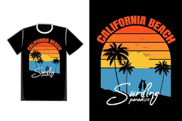 Camiseta tipografia silhueta praia pôr do sol céu paraíso retro Vetor Premium