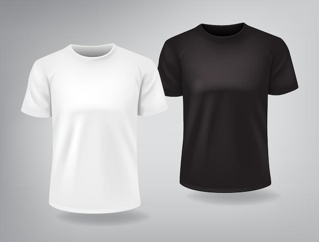 Camisetas brancas e pretas com mangas curtas mock up Vetor Premium