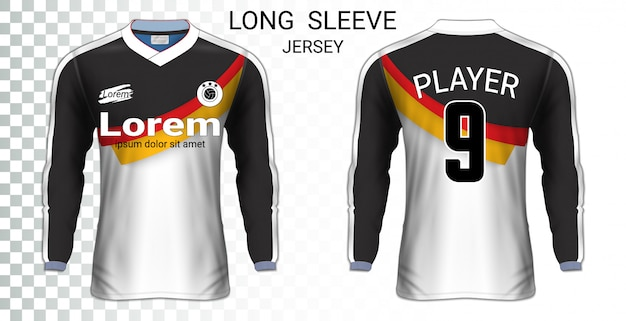 Camisolas de futebol de manga comprida Vetor Premium