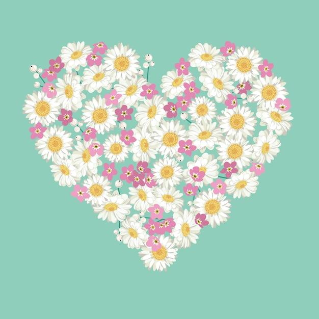 Camomila e esquecer-me-não forma floral do coração Vetor Premium