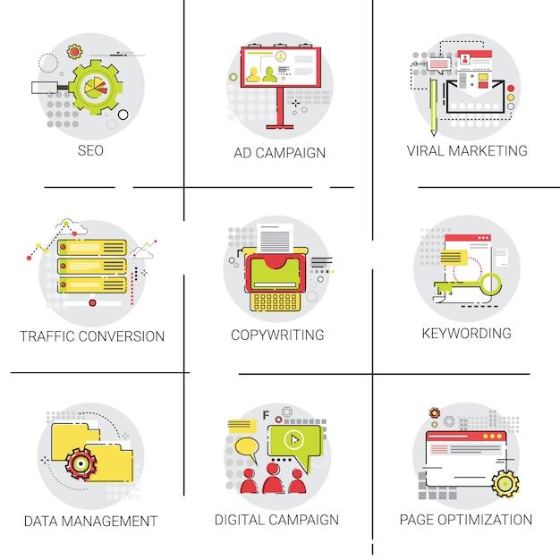Campanha de publicidade de marketing de conversão de tráfego seo Vetor Premium