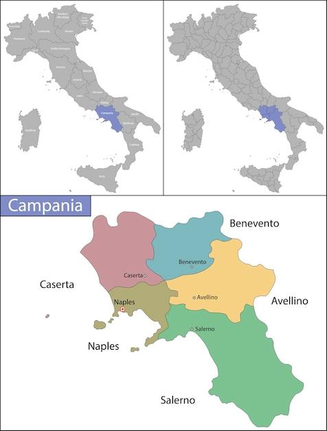 Campânia é uma região administrativa da itália localizada na porção sudoeste da península italiana Vetor Premium
