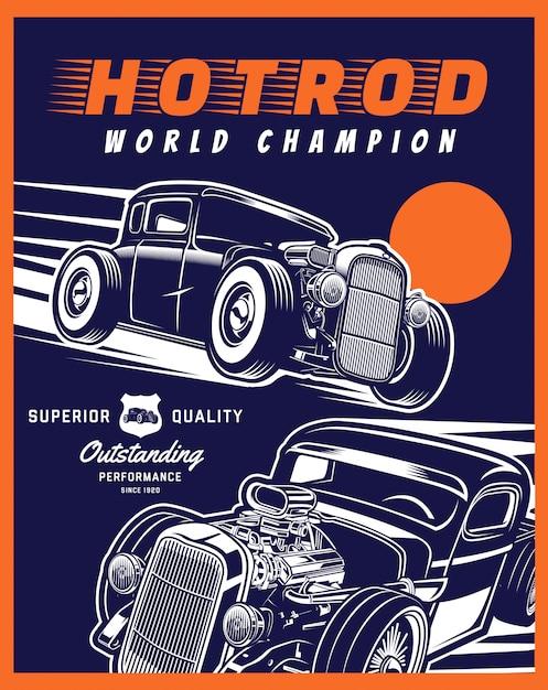 Campeão mundial da hotrod Vetor Premium