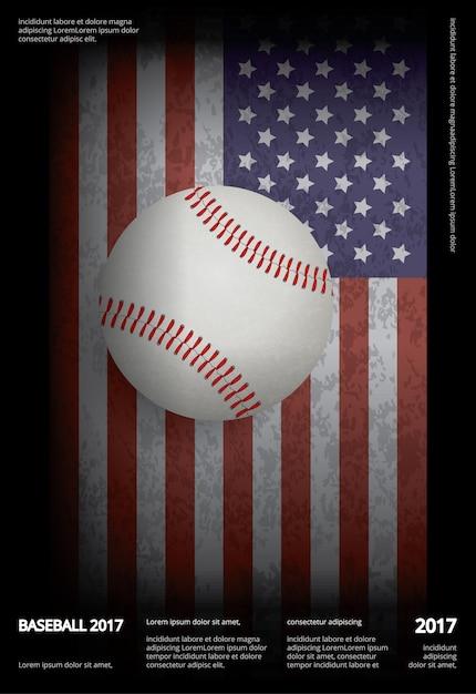 Campeonato de beisebol esporte poster design vector illustration Vetor Premium