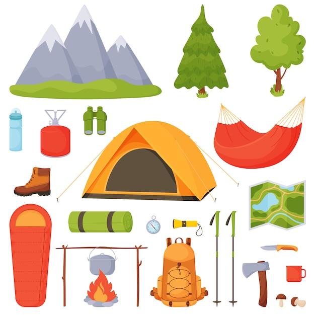 Camping, caminhadas, conjunto de camping. Vetor Premium