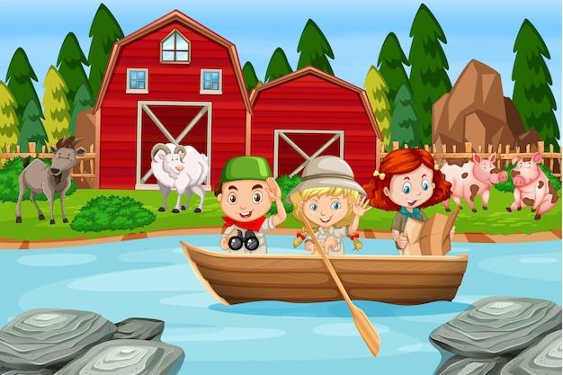 Camping crianças na fazenda rural Vetor Premium