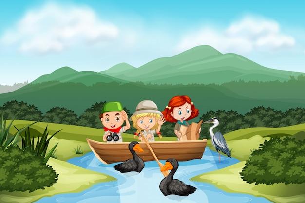 Camping crianças na natureza Vetor Premium