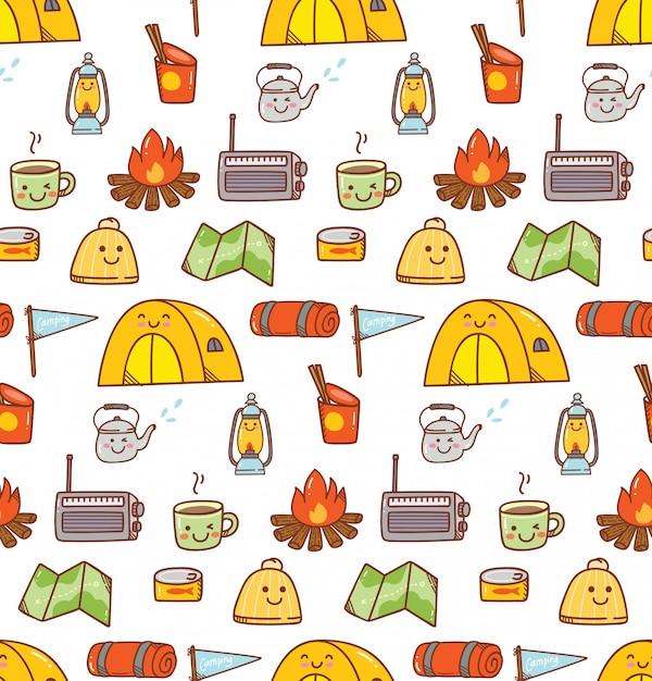 Camping kawaii doodle fundo Vetor Premium