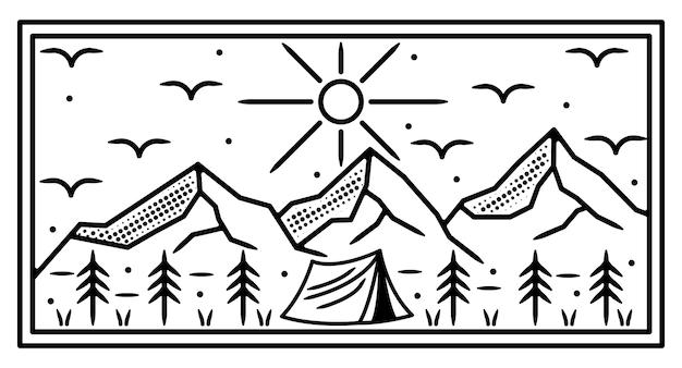 Camping na montanha design de crachá monoline ao ar livre Vetor Premium