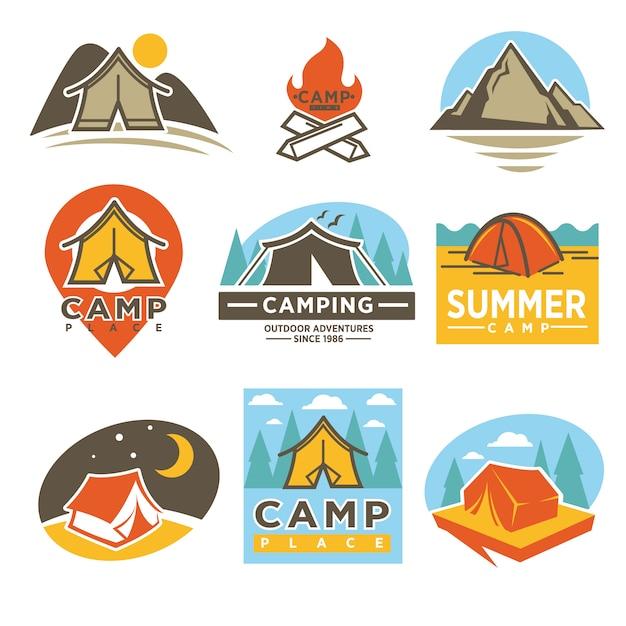 Camping outdoor adventures logotypes emblems set Vetor Premium