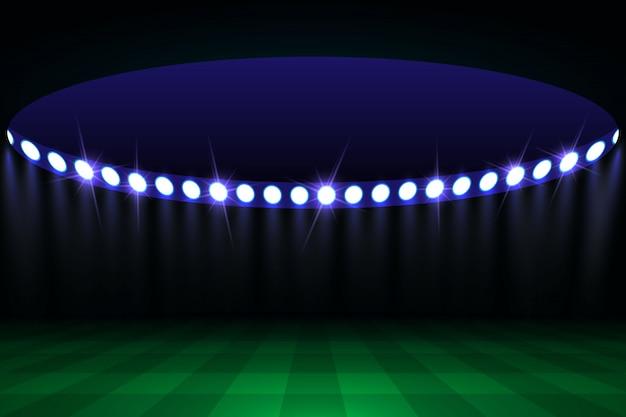 Campo de arena de futebol com luzes do estádio brilhante Vetor Premium