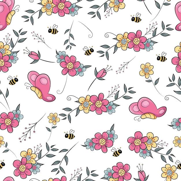 Campo de flor sem costura padrão com borboleta e abelha Vetor Premium