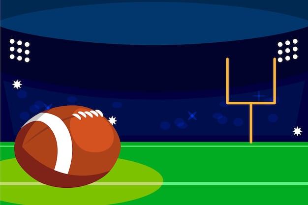 Campo de futebol americano e bola Vetor Premium
