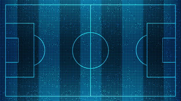Campo de futebol moderno na tecnologia digital virtual background.vector Vetor Premium