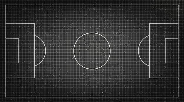 Campo de futebol no fundo da tecnologia digital Vetor Premium