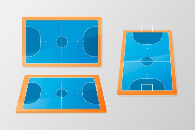 Campo de futsal azul e laranja em ângulos diferentes Vetor grátis