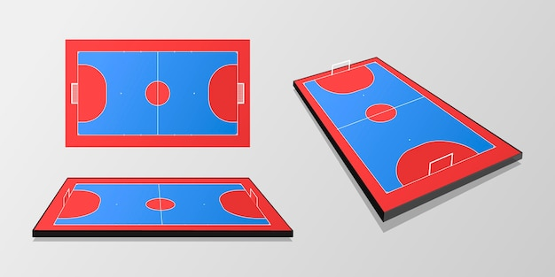 Campo de futsal azul e vermelho em ângulos diferentes Vetor grátis