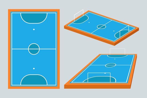 Campo de futsal azul em diferentes perspectivas Vetor Premium