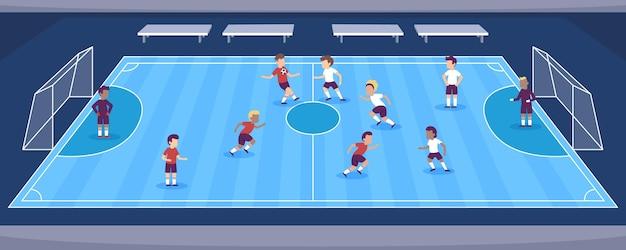 Campo de futsal com jogadores Vetor Premium