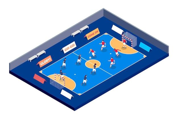 Campo de futsal com jogadores Vetor grátis