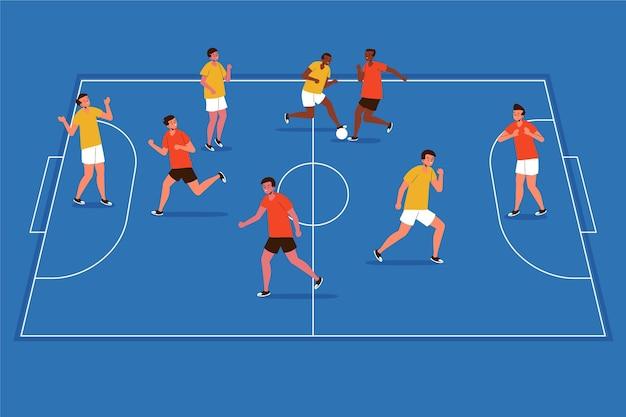 Campo de futsal de design plano com ilustração de jogadores Vetor grátis