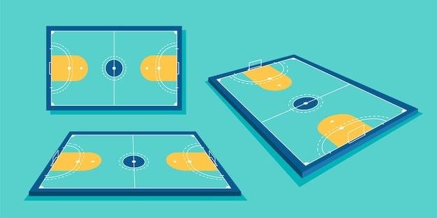 Campo de futsal em diferentes perspectivas Vetor Premium