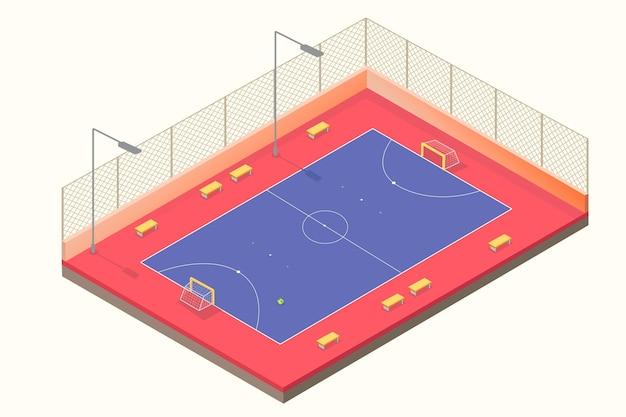 Campo de futsal isométrico azul e vermelho Vetor Premium