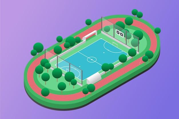 Campo de futsal isométrico com árvores Vetor grátis