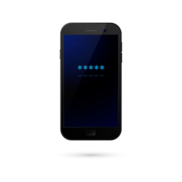 Campo de senha do celular. conceito de segurança do smartphone, acesso pessoal, login, tecnologia de proteção, autorização do usuário. Vetor Premium
