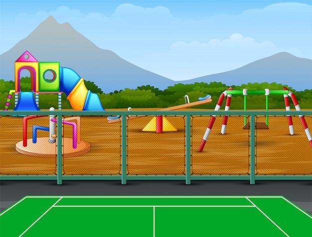 Campo de ténis com fundo de parque infantil Vetor Premium