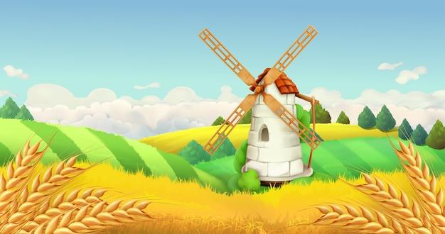Campo de trigo. paisagem do moinho de vento. ilustração horizontal, vetor Vetor Premium