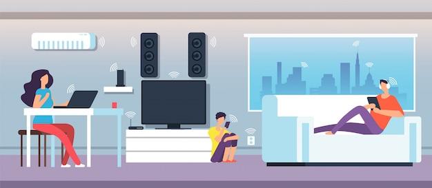 Campo eletromagnético em casa. pessoas sob ondas emf de aparelhos e dispositivos. Vetor Premium