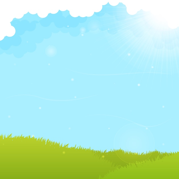 Campo Verde E Fundo Do Ceu Azul Vetor Gratis