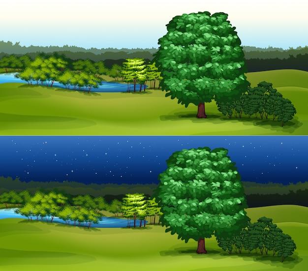 Campo verde no dia e noite Vetor grátis