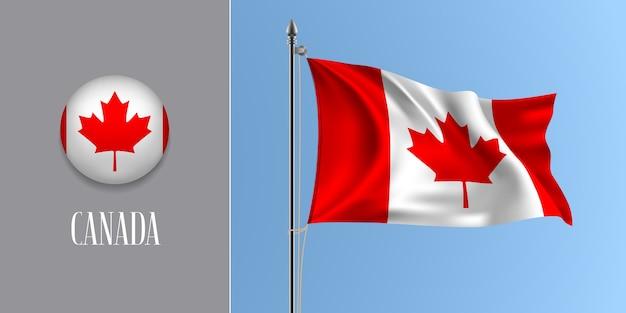 Canadá acenando bandeira no mastro e ícone redondo, maquete de listras e folha de bordo da bandeira canadense e botão do círculo Vetor Premium
