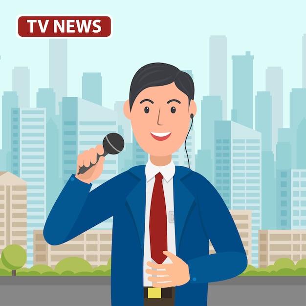 Canal de notícias de apresentador de tv com microfone na mão. r Vetor Premium