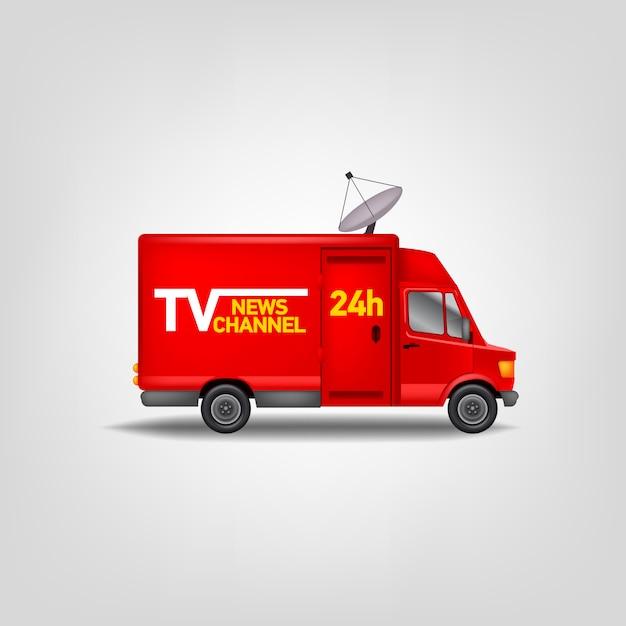 Canal de notícias de tv de ilustração. van realista. modelo de caminhão de serviço azul Vetor Premium