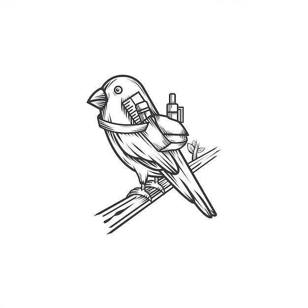 Canário com ilustração de logotipo estacionária Vetor Premium