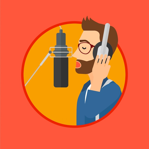 Canção de gravação do cantor. Vetor Premium