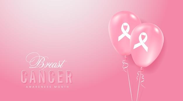 Câncer de mama, mês de conscientização de outubro, fundo de balões rosa Vetor Premium