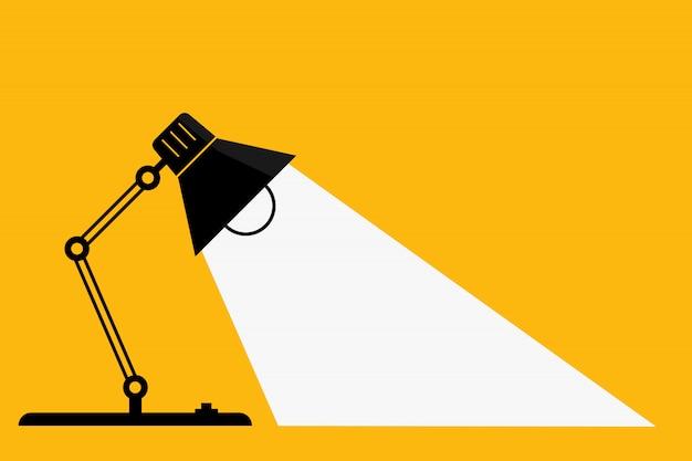 Candeeiro de mesa e luzes. - idéias e conceito de pensamento. - espaço para o seu texto. Vetor Premium