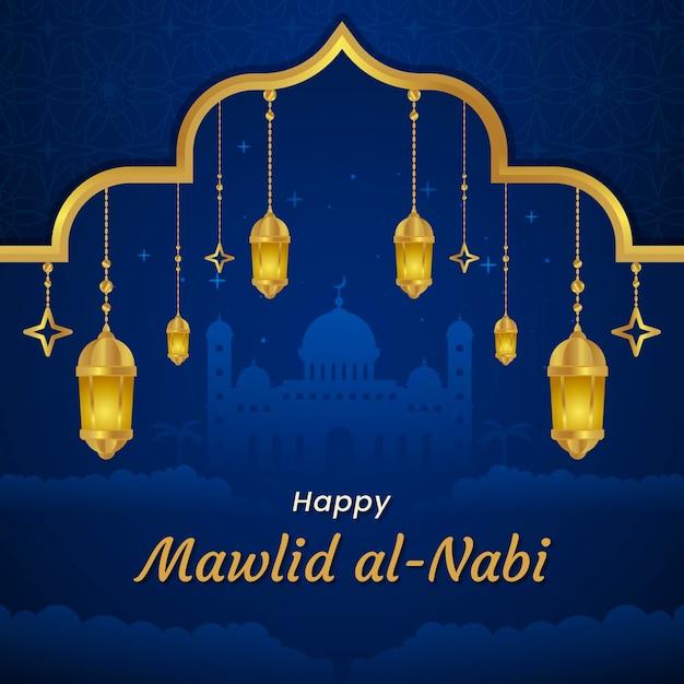 Candeeiros de cartão comemorativo milad-un-nabi e mesquita Vetor grátis