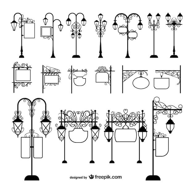 Candeeiros de iluminação pública e sinalização Vetor grátis