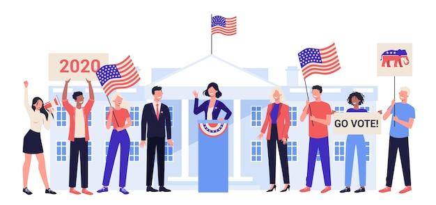 Candidato a presidente na tribuna. discurso político. eleição presidencial. conceito de discurso eleitoral. carreira na política. Vetor Premium