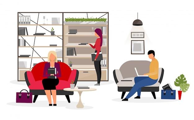 Candidatos a emprego à espera de ilustração plana de entrevista Vetor Premium