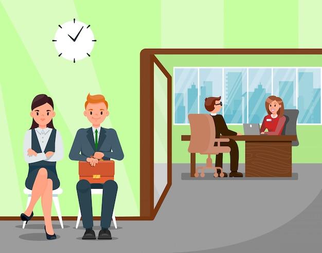 Candidatos à espera de ilustração de entrevista de emprego Vetor Premium
