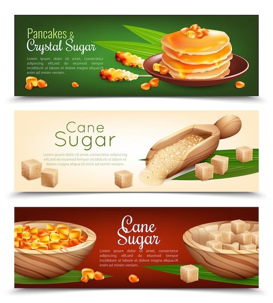 Cane sugar banners set Vetor grátis