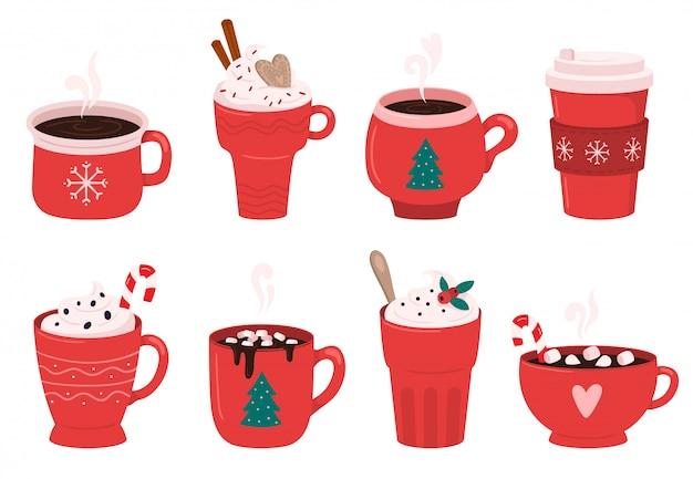 Caneca de café nas férias de natal. cacau com marshmallows, bebidas de aquecimento de inverno e conjunto de ilustração de xícara de café expresso quente Vetor Premium