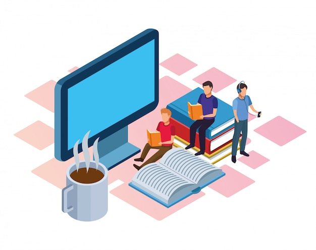 Caneca de café quente, computador e pessoas lendo em branco Vetor Premium